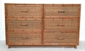 Mid century rattan lowboy, vintage bamboo chest of drawers, glass top, bohemian.