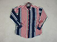VINTAGE Nautica Button Up Shirt Adult Large Red Blue Striped Long Sleeve Men 90s
