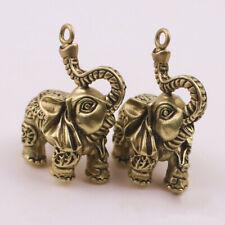 2pcs Copper Auspicious Elephant Keychain Pendant Vintage Brass Metal Animal DIY