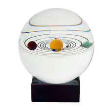Solar System Crystal Ball Galaxy 8 Planet Desktop Decor Gift Wooden Stand US