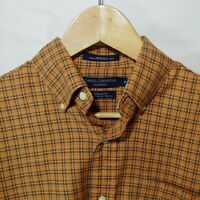 Daniel Cremieux Mens Size Medium Short Sleeve Button Up Shirt Tailored Fit Plaid
