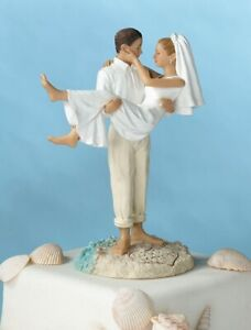 Wedding Cake Topper Beach Bride and Groom Figurines Decorations Supplies