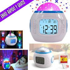Reloj Despertador Digital Proyector De Luz y Sonido Techo Estrellas Led Infantil