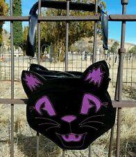 Sweet Midnight Black Purple Cat Halloween Gothic Punk Horror Purse Backpack Bag
