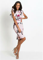 Easy On Stretch Pink Floral Printed Smooth Jersey Ruffled Pencil Dress 10/12