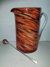 New listing Orange Swirl Glass Pitcher Clear Glass Handle with Blending Stick