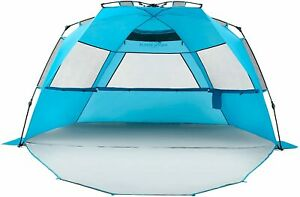 New Pacific Breeze Easy Setup Beach Tent Deluxe XL w/ Extendable Floor