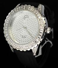 Epic Black Band Silver Finish Techno Pave Hip Hop CZ Icy Bezel Mens Bling Watch