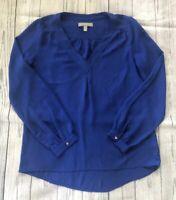 Women's Banana Republic Royal Blue V-Neck Flowy Blouse-XS