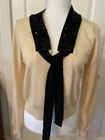 Pre Owned Size M DKNY | Women's Beautiful Beige With   Black Beaded Sweater