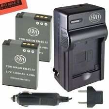 BM EN-EL12 2X Batteries & Charger for Nikon KeyMission 170, KeyMission 360