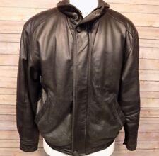 Members Only Men's Vintage Leather Bomber Jacket  Size Med Black Lined