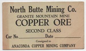 1920 Copper Ore Card North Butte Mining Co Granite Mountain Mine Anaconda