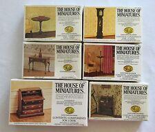 6 Dollhouse Furniture Kits House of Miniatures Table Desk Clock