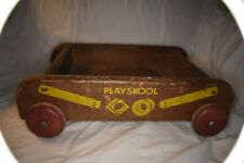 """Vintage Child's Wooden Playschool Pull Wagon. 12"""" Long, 10"""" Wide, 4"""" Tall"""
