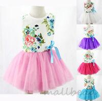 Kids Girls Toddler Baby Sleeveless Princess Dress Bow Flower Tutu Dresses Cute