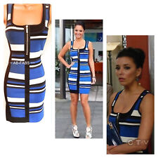 Karen Millen Graphic Striped Knit Dress Blue Black Bandage Bodycon Sz 10 Mk2