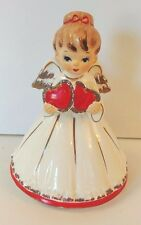 "Vintage LEFTON Red Heart ""My Funny Valentine"" Angel Music Box Figurine - Works!"