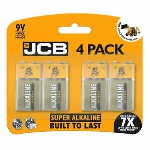 New JCB 9V SUPER Alkaline Batteries PP3 NEW LR22 MN1604 Smoke alarmx 4pack