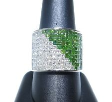 Mens 14k White Gold White & Green Princess Cut Colored Diamond Ring 5.00ct