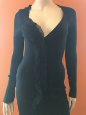 NWT$1065 PRADA Courure Collection Black Cashmere Sweater Cardigan Top Size 44