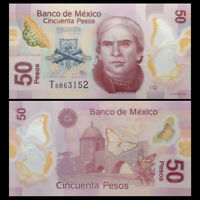 Mexico 50 Pesos Banknote, 2015, P-123 NEW, UNC, America Paper Money, Polymer