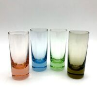 Vintage Set of 4 Colored Glass Shot Shooter Cordial Glasses