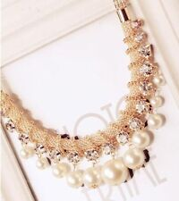 Pearl Alloy Charm Round Stone Costume Necklaces & Pendants