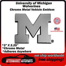 University of Michigan Wolverines Chrome Metal Car Auto Emblem Decal Team Logo