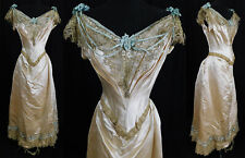 Victorian White Silk Gold Lace Blue Ribbon Corset Bodice Ball Gown Bustle Dress