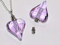 1 Glass Heart pendant cremation urn perfume bottle Screw cap NECKLACE PURPLE