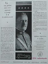 PUBLICITE AUTOMOBILE CADILLAC GENERAL PERSHING GENERAL MOTORS DE 1929 FRENCH AD
