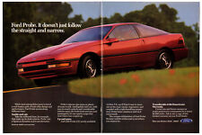 1990 FORD Probe Vintage Original Centerfold Print AD - Red car coupe photo USA
