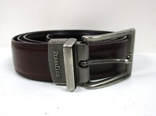 Mens Perry Ellis Black And Brown Reversible Leather Belt Size 38 Gray Buckle