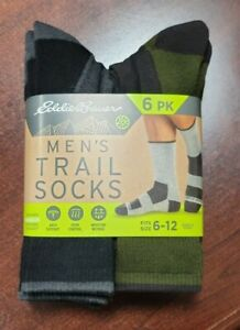 Eddie Bauer Men's 6 Pairs Trail Socks Arch Support size 6-12 Antimicrobial green