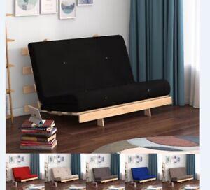 NEW 2ft6 / 4ft Futon Wooden Frame Sofa Z Bed Fold Mattress Single Double