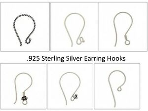 .925 Sterling Silver Earring Hooks assorted styles Earring Hook Shepard Hook