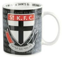 81893 ST KILDA SAINTS AFL LOGO TEAM SONG CERAMIC COFFEE MUG IN BOX 11OZ