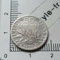 H13403 pièce de monnaie argent 50 centimes seumeuse 1908