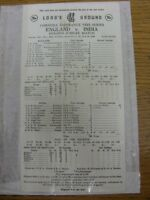 10/06/1982 Cricket Scorecard: England v India [At Lords] 5 Day Match (scores pri
