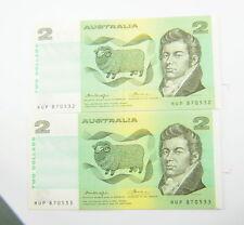 Australian Two Dollars 2 Consecutive Banknotes Knight/Wheeler $2 Pair OCR-B Side