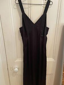H&M Black Satin Slip Dress UK12 BNWT