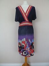 Oasis Navy Blue Red Purple Cream Abstract Jersey Dress Size S UK 10 BNWT £45