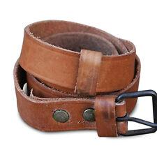 "VTG 100% Leather Belt Brass Roll Bar 2.5 cm Wide to 110 cm / 40"" Long Tan Brown"