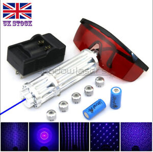 BX3-C 1MW 450nm Blue Laser Pointer Lazer Pen &Battery&Charger&Goggles&5 Caps UK
