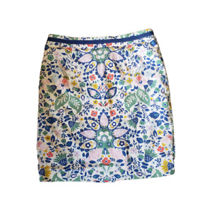 Boden Floral Print Career Skirt With Slit Size Petite 10P