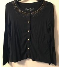 Onque Casuals Sweater Button Down Black Amber Gold Stud Beads L