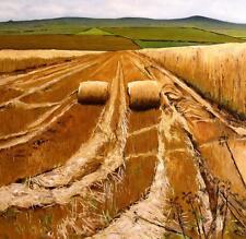"""ORIGINALE Martin Davis """"pentrich campi"""" estate rotoli di fieno Paese Vita Pittura"""