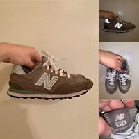 New Balance 574 Womens Size 7 Gray Running Shoes Lace Up Made In USA Reflective