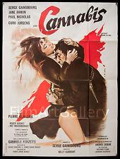 """CANNABIS 1970 French 47""""x63"""" poster Serge Gainsbourg Jane Birkin Filmartgallery"""